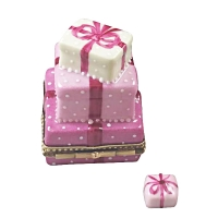 Pink birthday cake with present