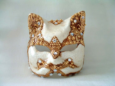 Cat Gold White Venetian Mask