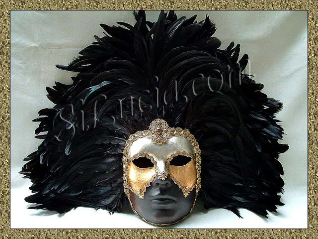 Full Brown Deco face Black Feathers