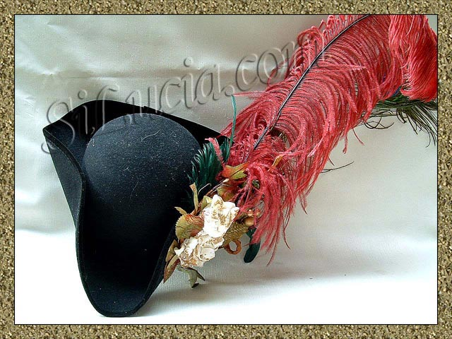 Tr-Cornered Hat with Plume and Flowers