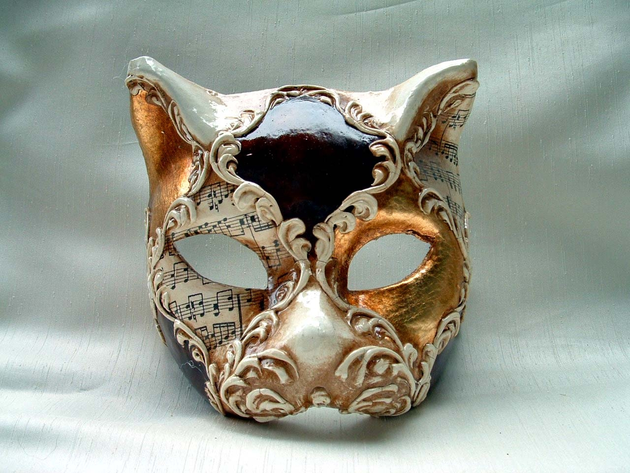Cat Gold/Brown/White Music Venetian Mask