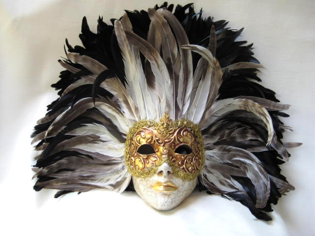 full face black/tan tiiger feathers