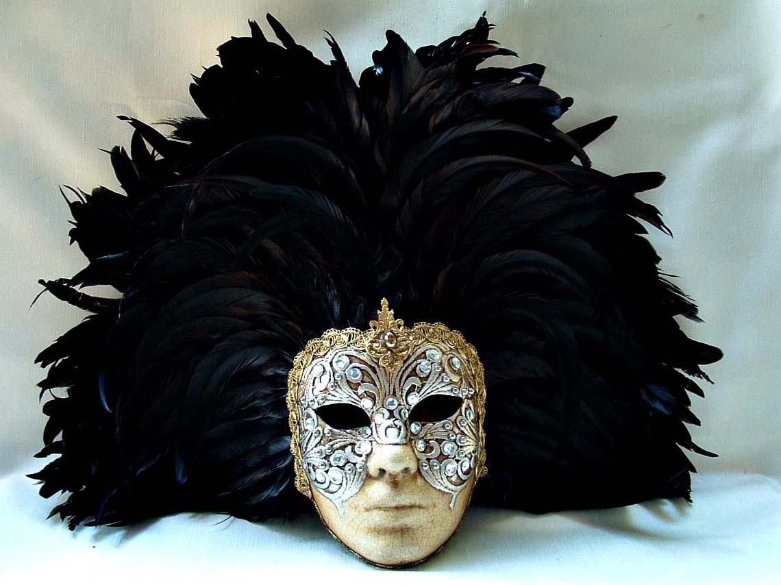 Full Silver Macrame Face Black Feathers