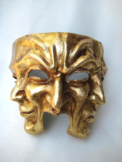 Three Faces Medium Gold Venetian Mask
