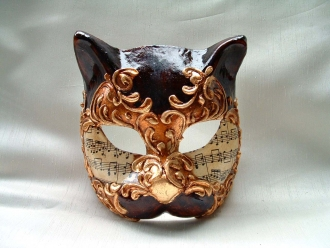 Cat Brown/Gold Music Venetian Mask