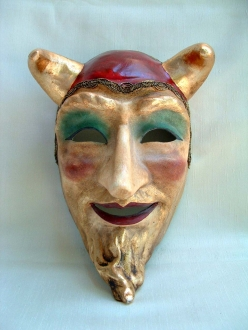 Diavolo Franco Red Venetian Mask