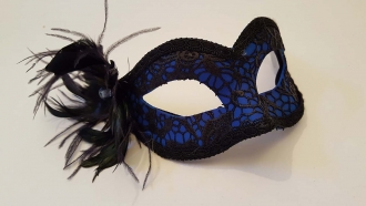 colombina blue lace w/black feathers