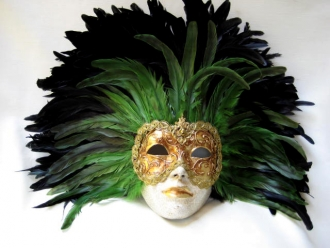 full face black/green tiger feathers