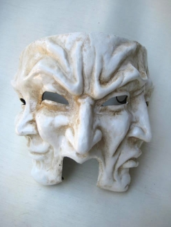Three Faces Medium Antique White Venetian Mask