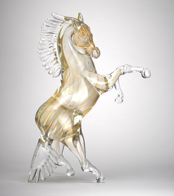 Murano Glass Crystal and Gold Horse