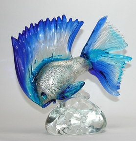 Blue and silver Murano Fish