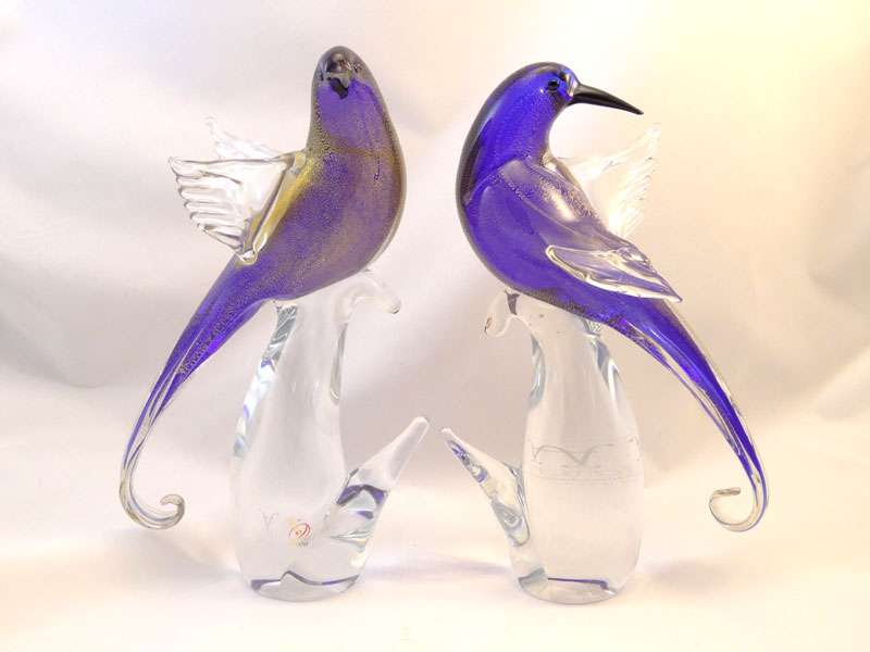 Murano Birds Pair Cobalt/Gold