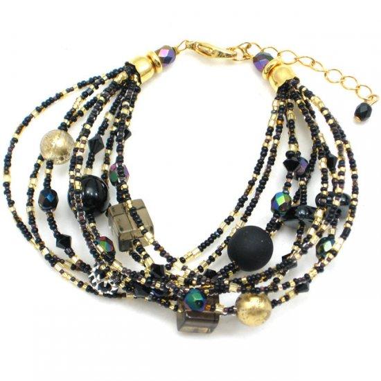 murano glass waterfall bracelet black murano glass