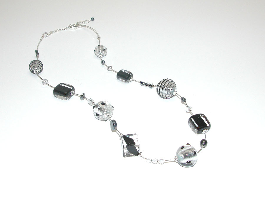 Murano Glass Necklace Black/Silver