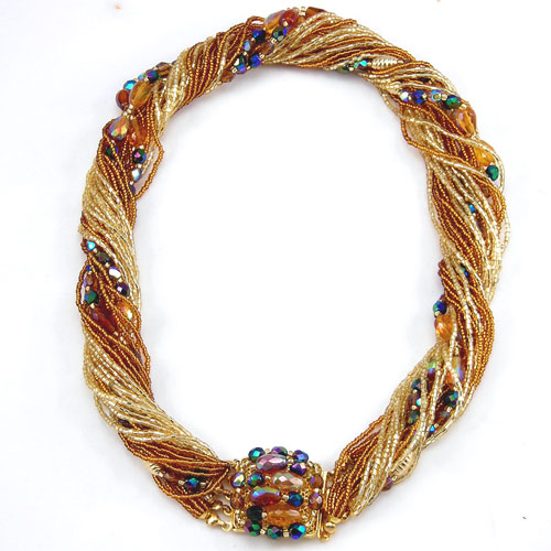 Murano Glass Jewel Necklace Gold