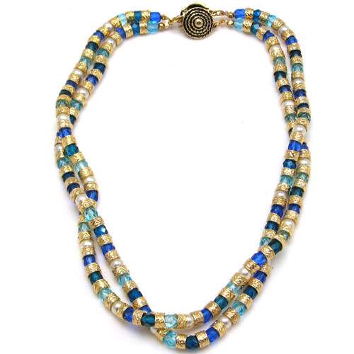 Multi Twist Necklace Blue