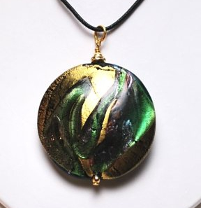 Arianna Round Pendant Green/Gold Black Cord