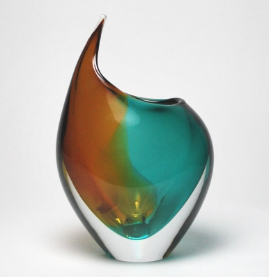 Murano art vase Light blue/Amber