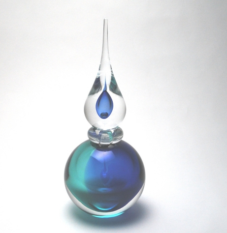 Pointed Sommerso Light Blue Perfume Bottle Murano Glass
