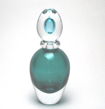 Sommerso Oval Turqouise Perfume Bottle Murano Glass