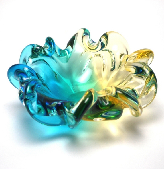 Amber and aqua blue Bowl