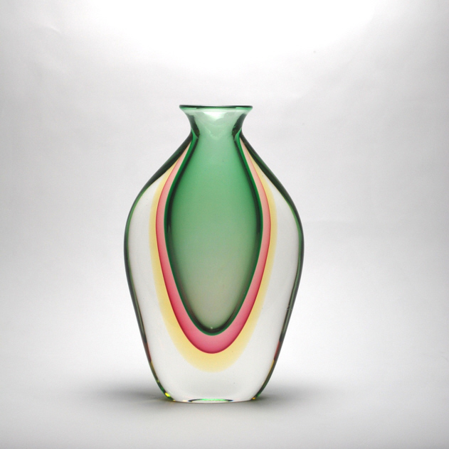 Murano Vases uk Murano Vase Amber/emerald/red