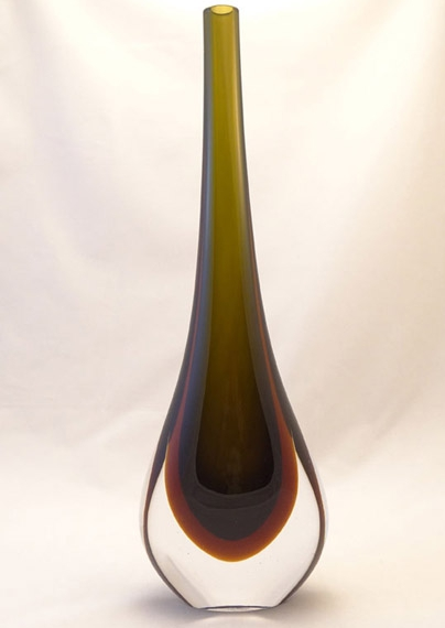Murano Glass Vase Green/Topaz
