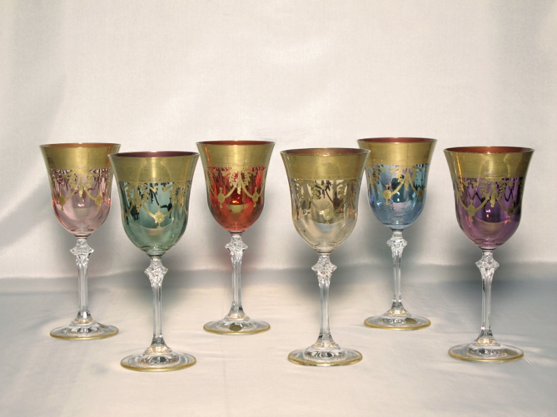 venetian medici collection water goblets set of 6