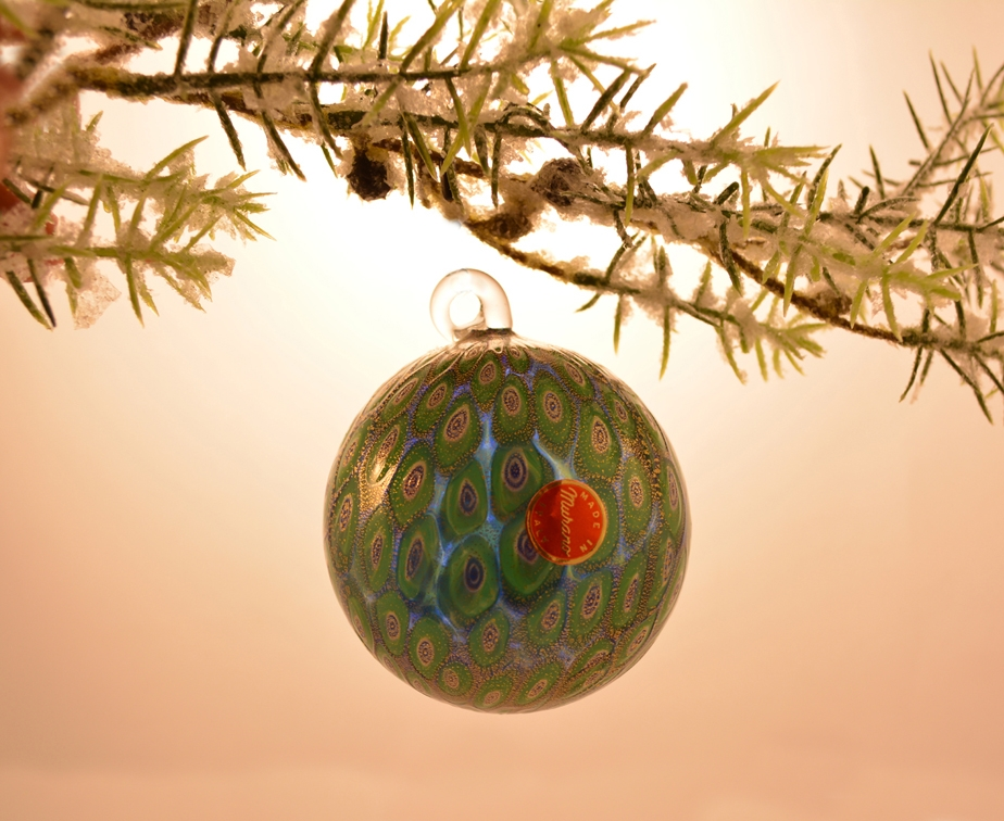 Murano Glass Blue and Emerald Christmas tree ornament