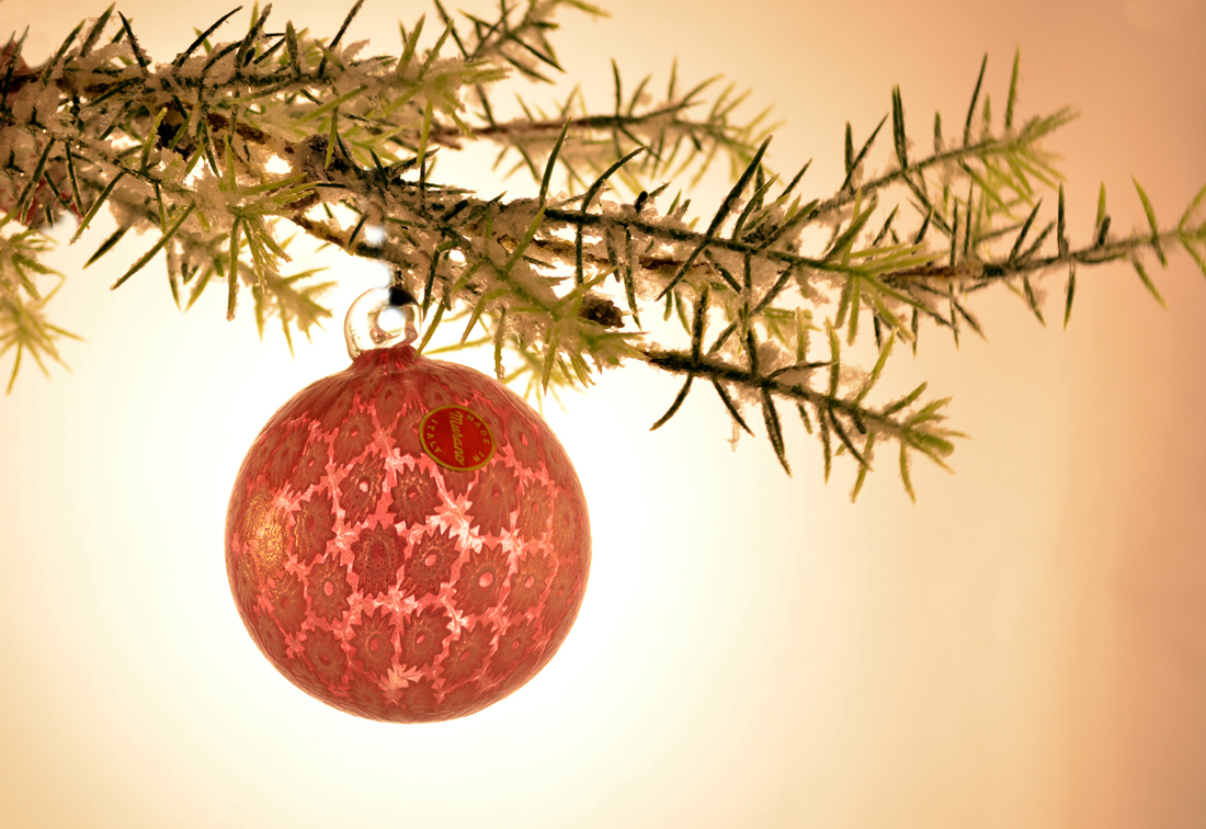 Gold and peach Christmas Tree ornament