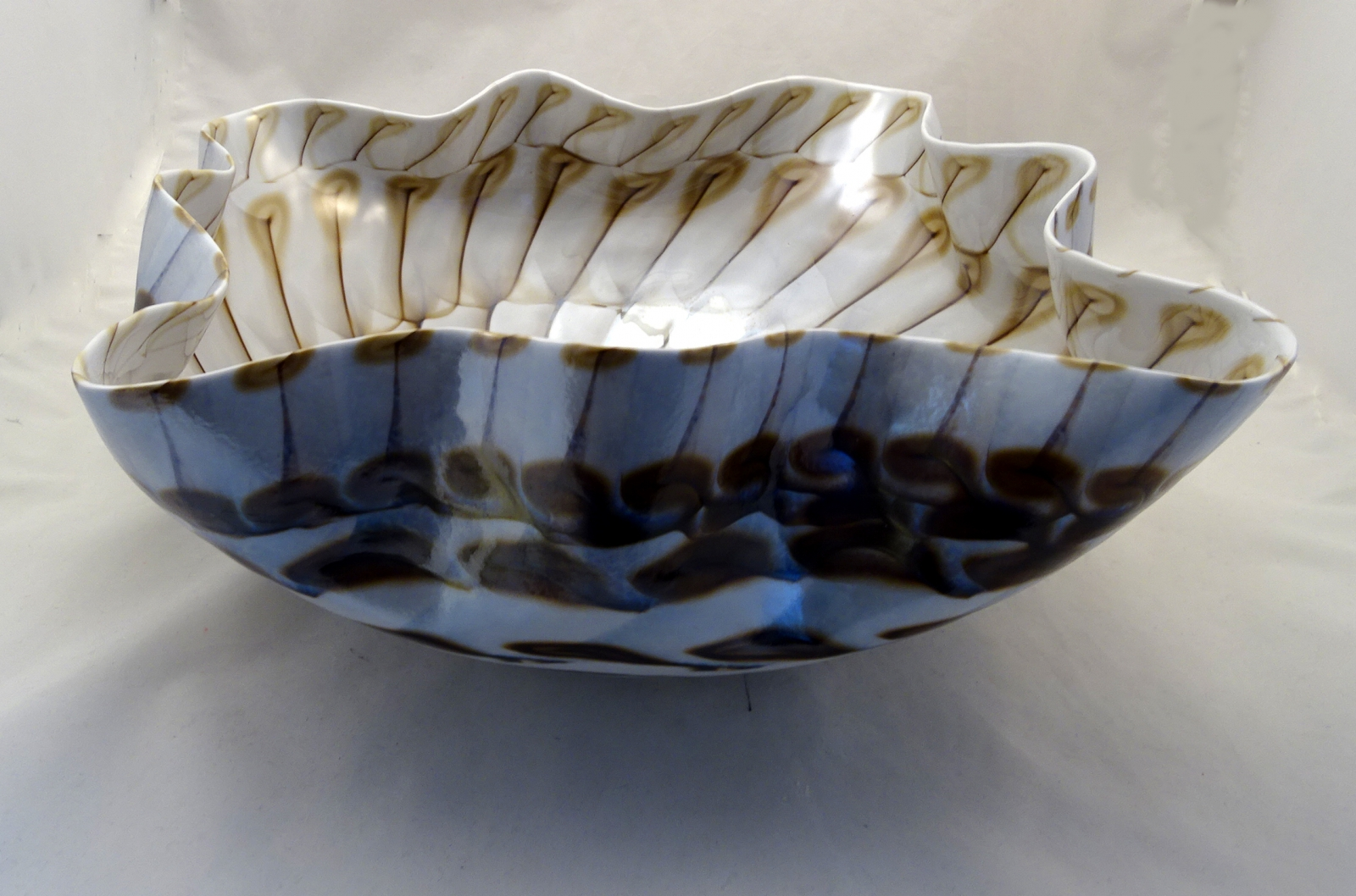 Large Ivory and Light Brown Murano Glass Centerpiece Bowl
