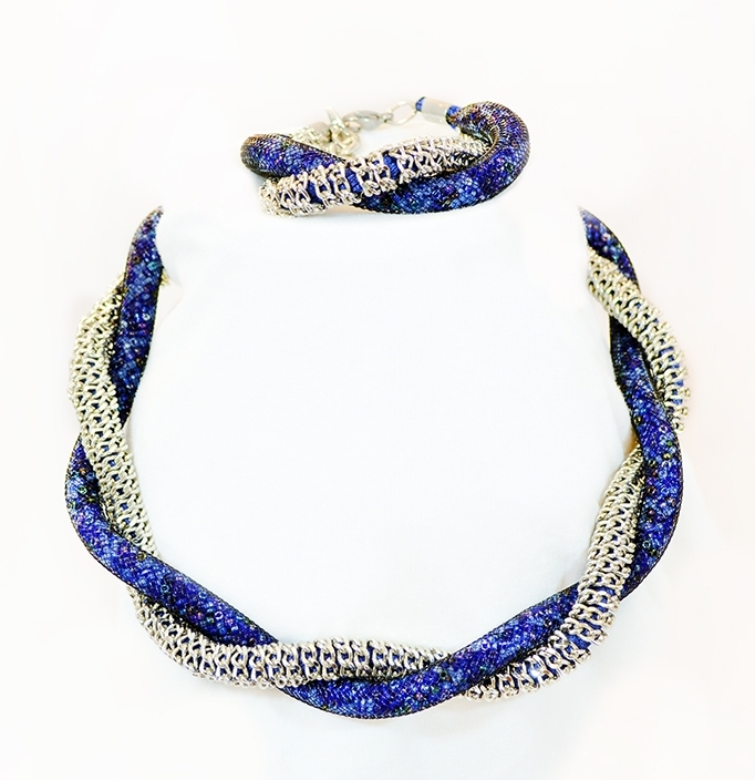 blue haskell glass flowers details hess necklace lush beads leaves product and