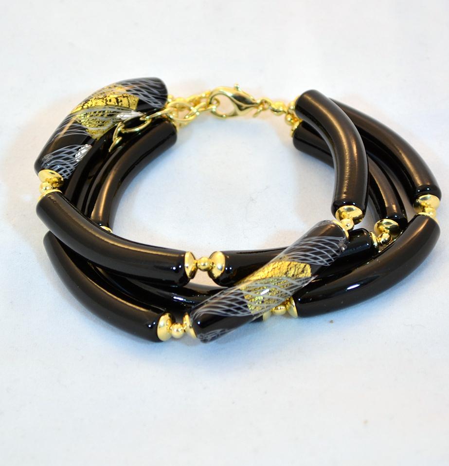 black murano elongated bead piega bracelet murano glass
