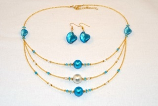 Aqua blue 3 tier murano glass necklace and earrings set