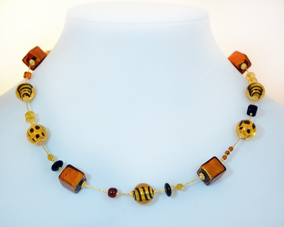 Beaded mix murano glass necklace