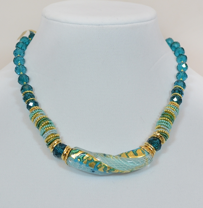 Blue and gold bead and twist pendant necklace murano glass blue and gold bead and twist pendant necklace mozeypictures Choice Image