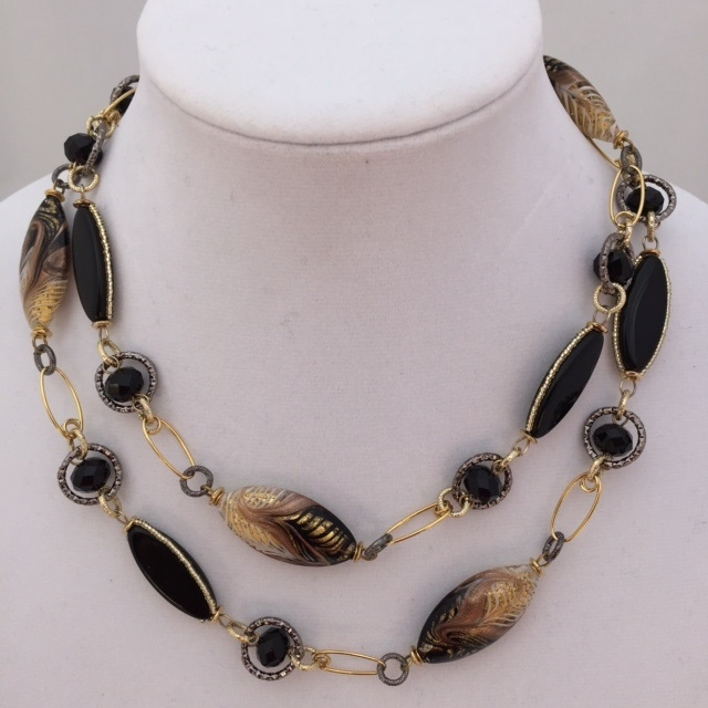 diamond gold white necklace ladies bead n black ct strand