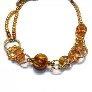Murano Glass Maria Necklace Amber