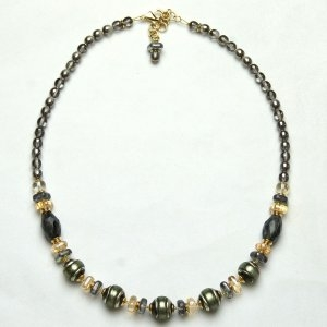 Murano Glass Necklace Gray