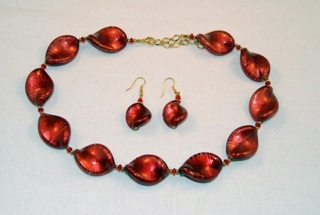 Red murano glass large twists necklace and earrings