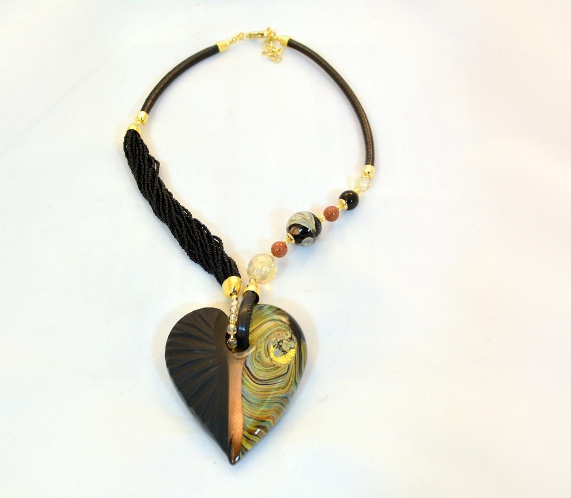 Black and gold murano intaglio glass heart necklace murano glass black and gold murano intaglio glass heart necklace mozeypictures Image collections