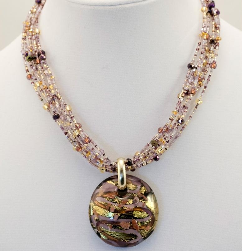 Murano glass blacklavendergold pendant murano glass jewelry murano glass blacklavendergold pendant mozeypictures Choice Image