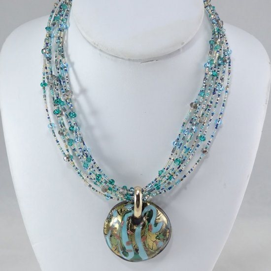 Murano glass turquoisegold pendant murano glass jewelry murano murano glass turquoisegold pendant aloadofball Image collections