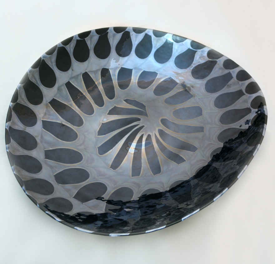 Large Murano Glass BLACK AND SILVER MURANO GLASS PLATTER