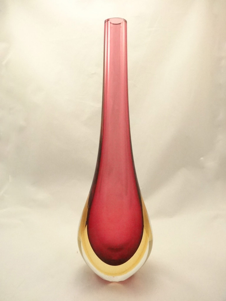 Murano Glass Ruby/amber Somerso Gocce Vase