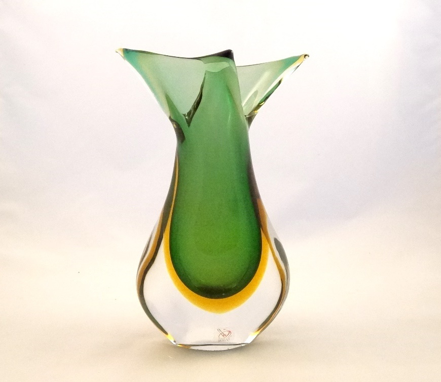 Murano Glass Emerald and Amber FiFi Vase