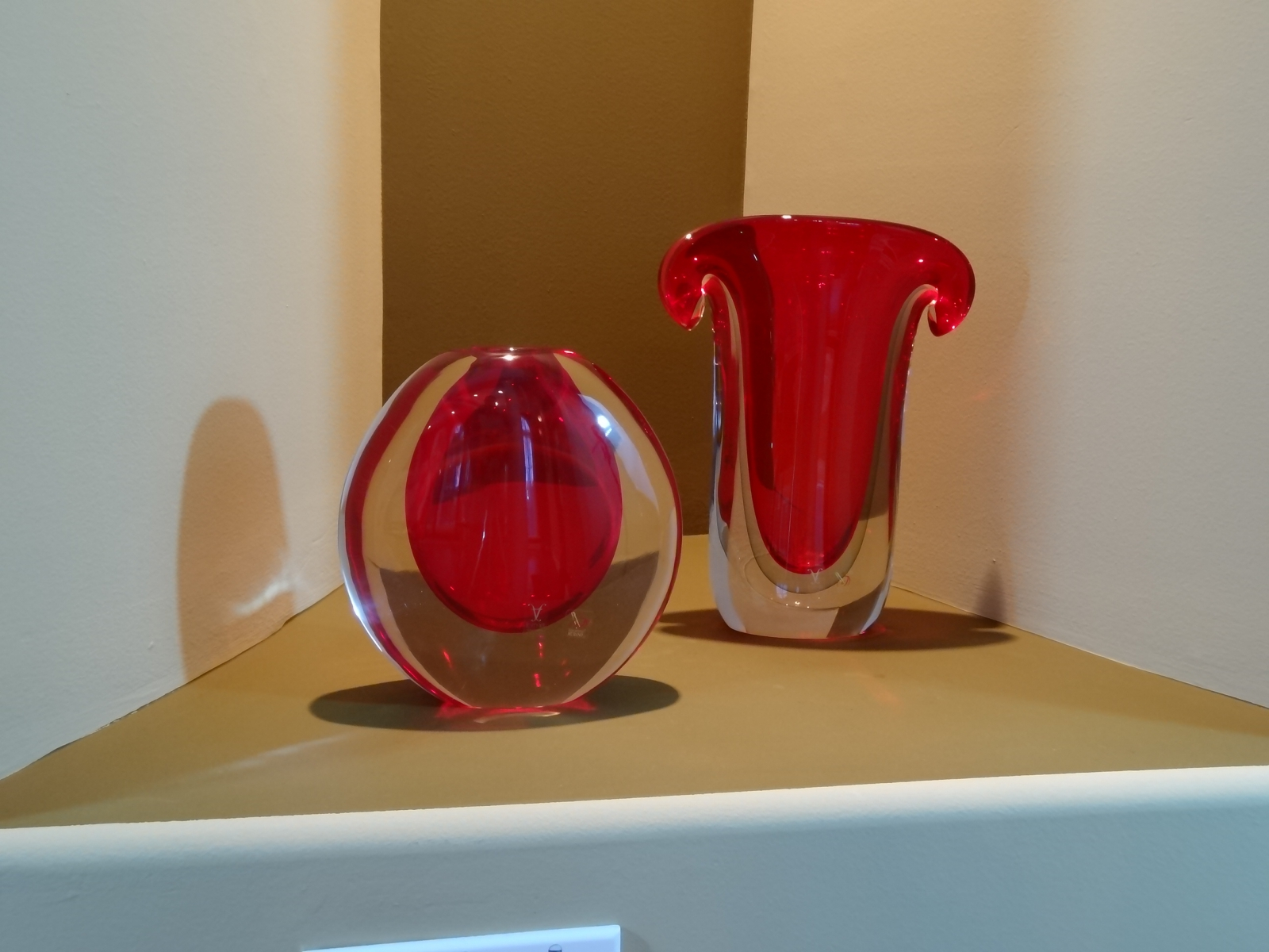 Murano Glass Red/Cystal Vase