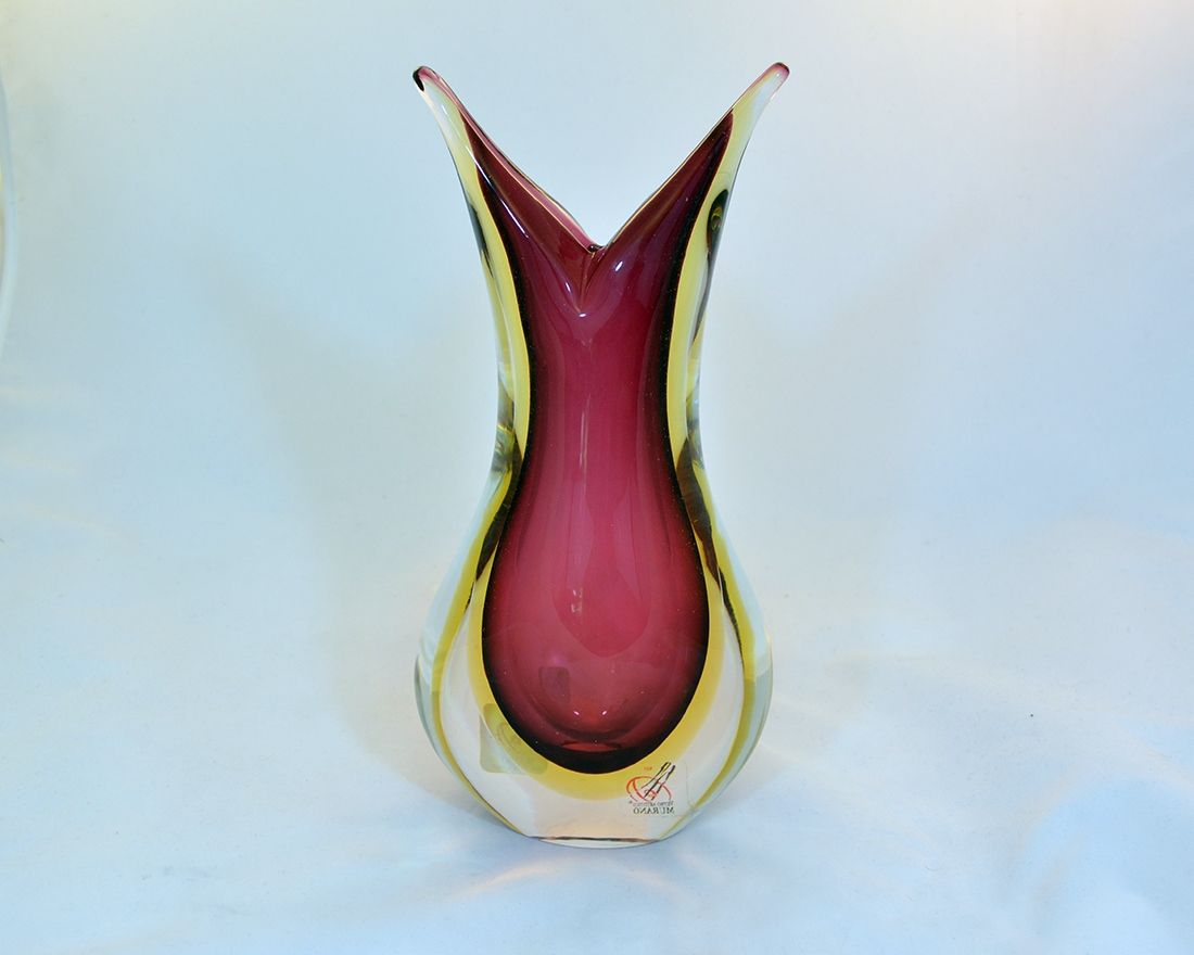 Murano Glass Sommerso Vase Ruby And Amber Murano Glass