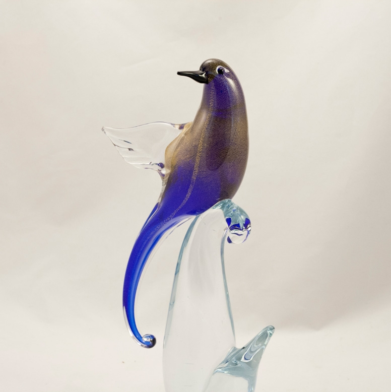 Murano Glass Bird of Paradise Open wings Cobalt/Gold Face Forward