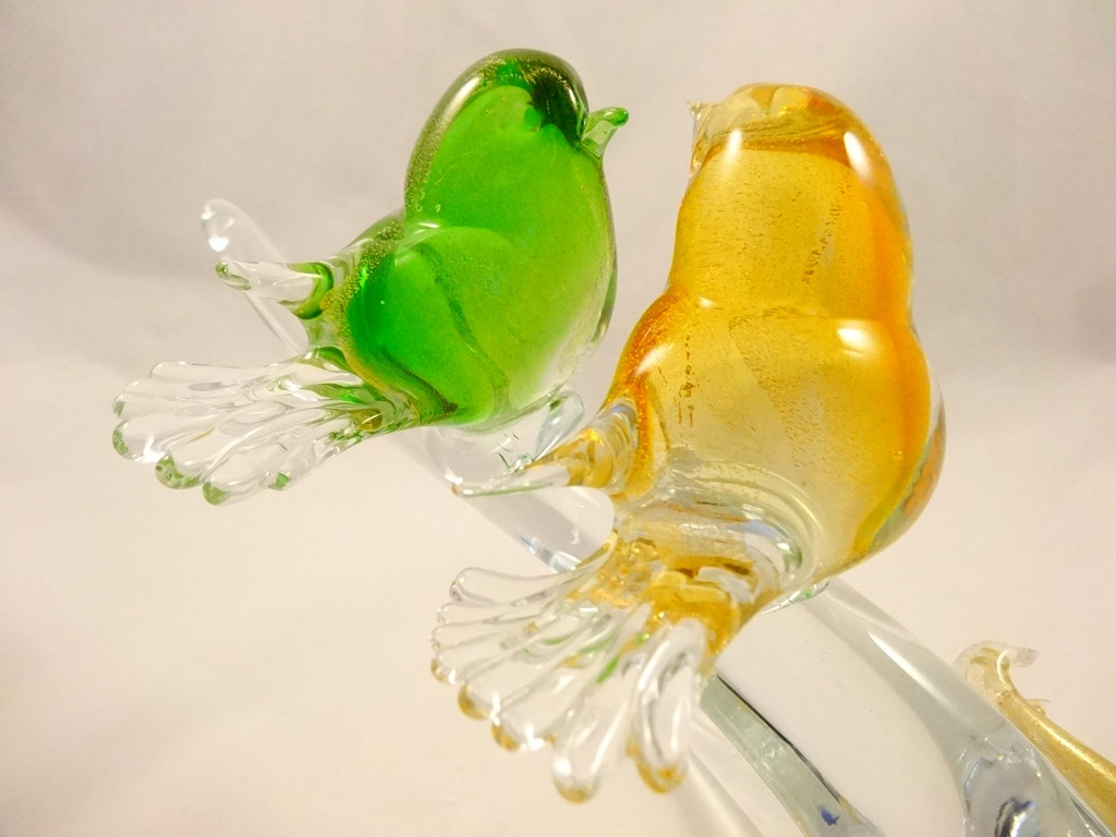 Murano Glass Birds Amber Green
